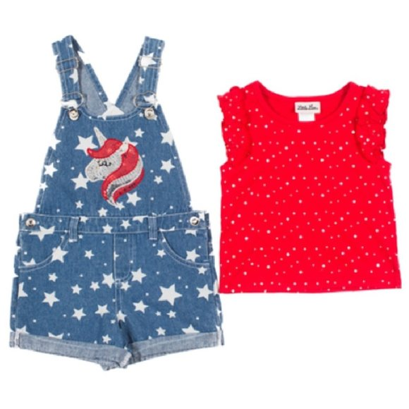 Little Lass Other - 2pc Disco Dot Top & Denim Shortalls Sz 24 mo Stars